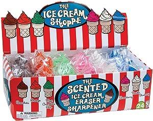 Raymond Geddes Ice Cream Shoppe Scented Eraser with Sharpener (Pack of 24)