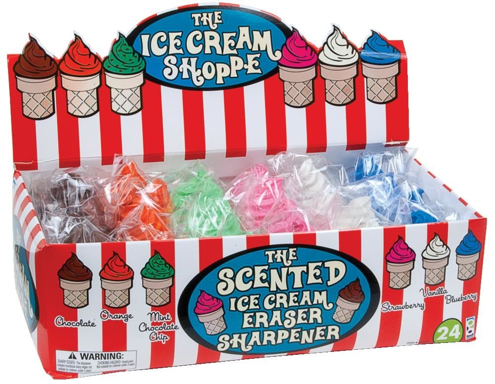 Raymond Geddes Ice Cream Shoppe Scented Eraser with Pencil Sharpener, 24 Pack (68662)