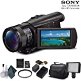 Sony FDR-AX100 4K Ultra HD Camcorder (FDR-AX100 4K) With 16GB Memory Card, Extra Battery and Charger, UV Filter, LED…