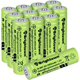 NiMH Rechargeable AA Battery Pack of 12, High Capacity 1300mAh 1.2v Pre-Charged Double A Battery for Solar Lights…