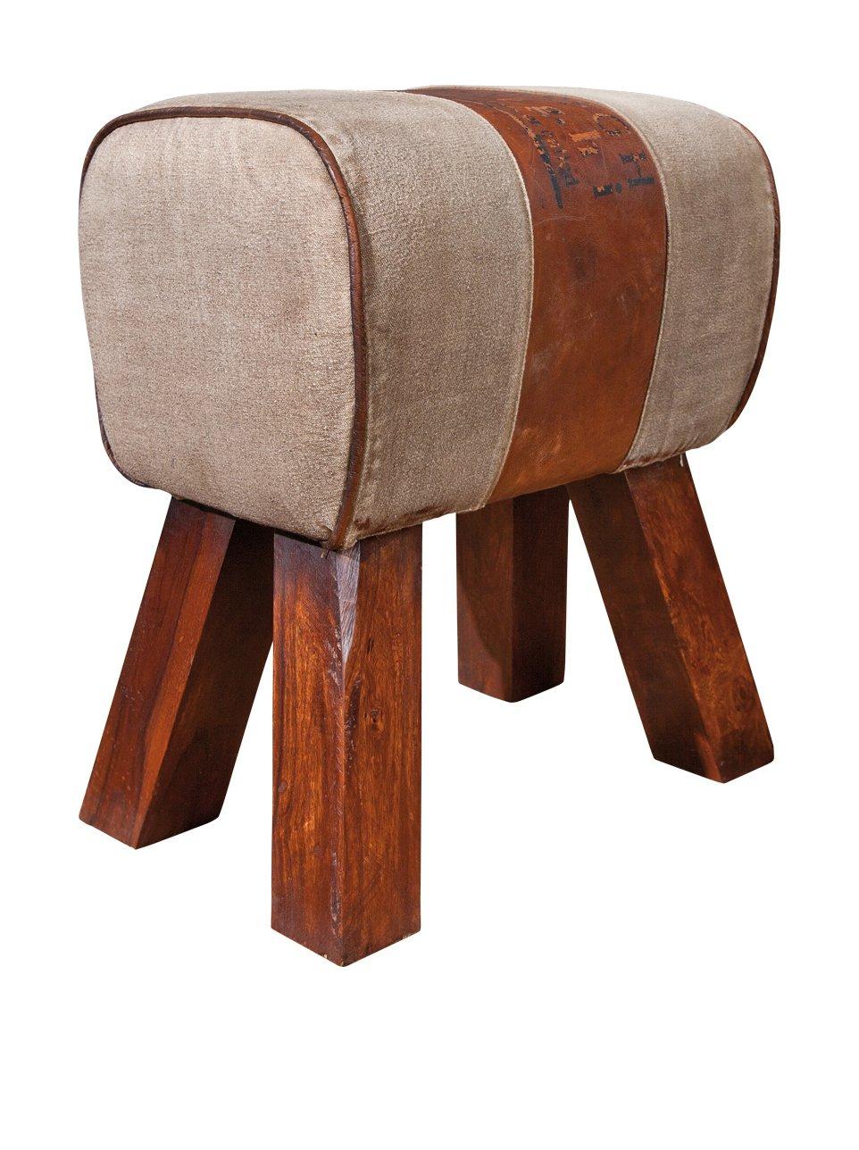 Links 86300355 Stromboli Pouf avec Pied en Bois-Canvas-Cuir Brun 43 x 30 x 47 -5 cm