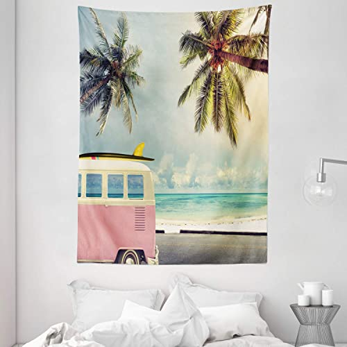 Ambesonne Surf Tapestry, Minivan The Beach Retro Inspired Vacation Clouds in Summer Sky Honeymoon Destination, Wall Hanging for Bedroom Living Room Dorm, 60 X 80 , Blue Blush