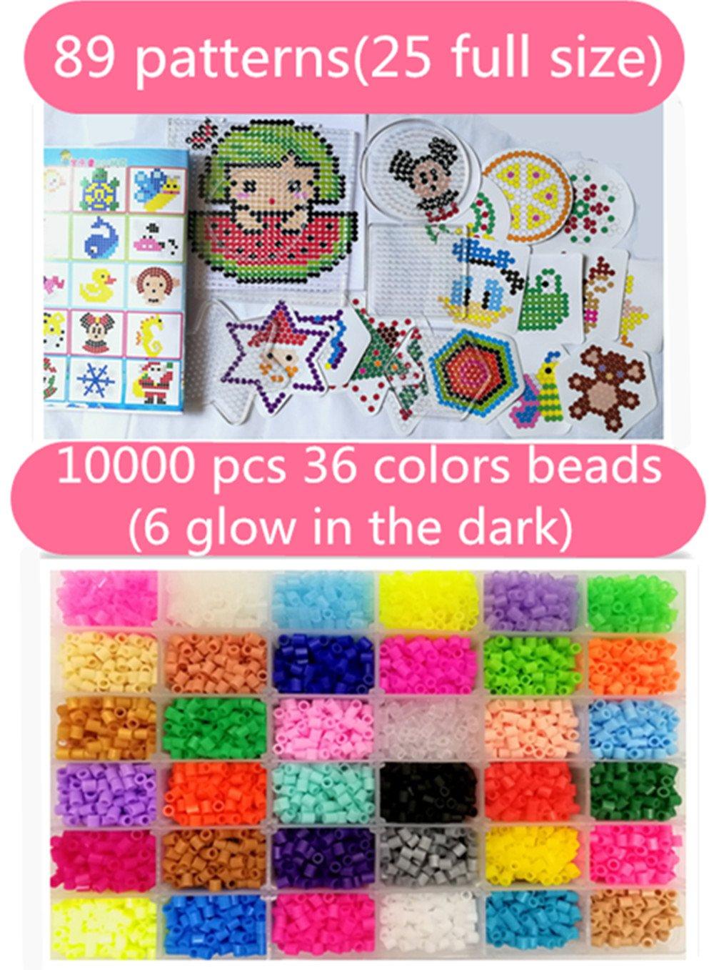 29taille r/éelle 6 brille dans le noir vytung 10000 Perles /à Repasser-36 couleurs 5 Plaques+89mod/èle imaginer +5feuilles de papier +2Brucelles+sac de bricolage Hama Beads Compatible