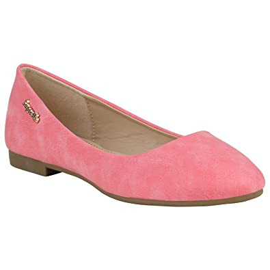 716ab27889818 Stiefelparadies Klassische Damen Ballerinas Leder-Optik Flats Trend Schuhe  155261 Rot Amares 36 Flandell