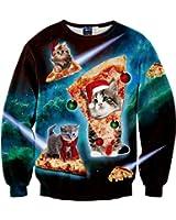 Fashion-Plus Velvet Sweatshirts Christmas Cartoon Cat Pizza 3D Sweater