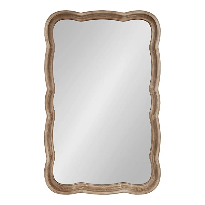 Kate and Laurel Hatherleigh Decorative Shabby Chic Scallop Wood Wall Mirror, Rustic Brown, 23.5x38-inches