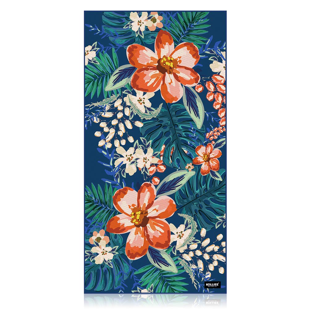 KOLLIEE Sand Free Beach Towels Flowers Portable Colorful Compact Beach Towels Absorbent Pool Towels Sand Proof Beach Towels for Adults Girls Women Kids 31x63 inch