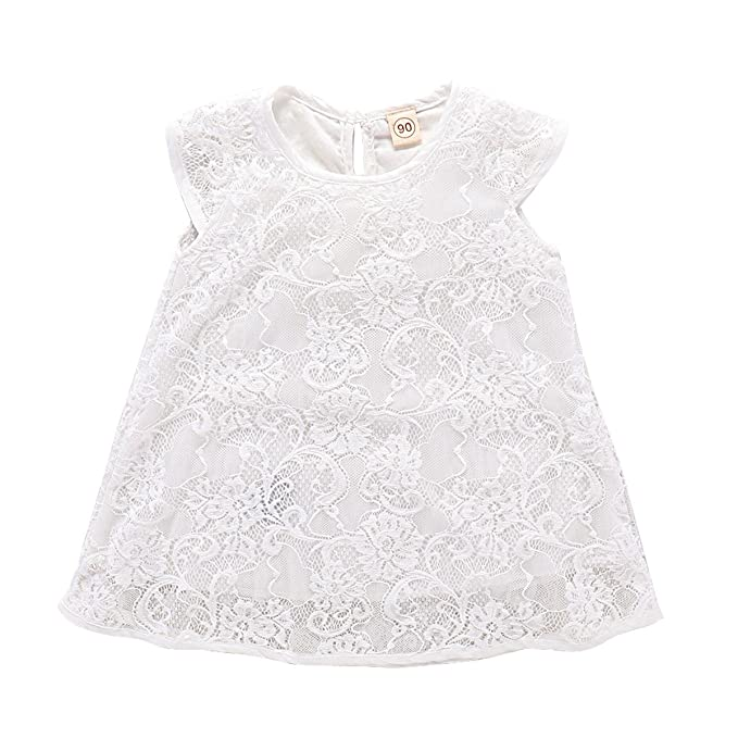 Amazon.com: Bebé recién nacido niñas encaje manga corta ...