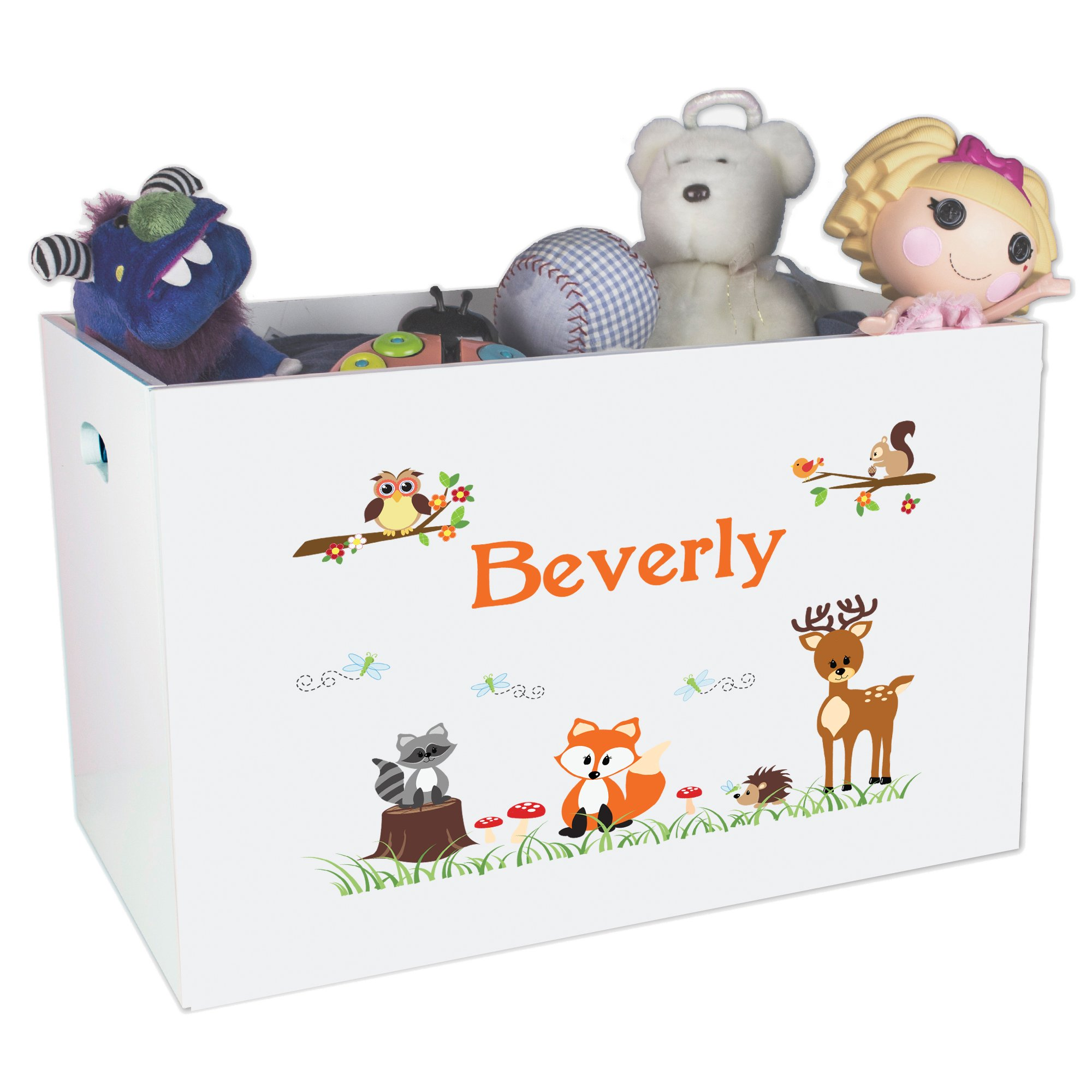 Personalized Forest Animal Childrens Nursery White Open Toy Box