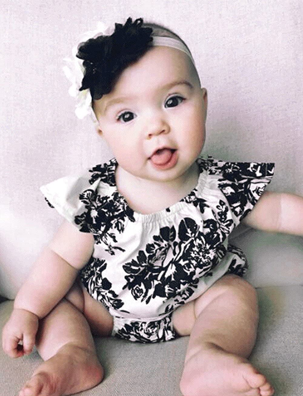 eaa2c9104d24 Amazon.com: Toddler Infant Romper Jumpsuit Summer Newborn Baby Girls  Ruffles Floral Romper Jumpsuit Playsuit Outfit Clothes: Clothing