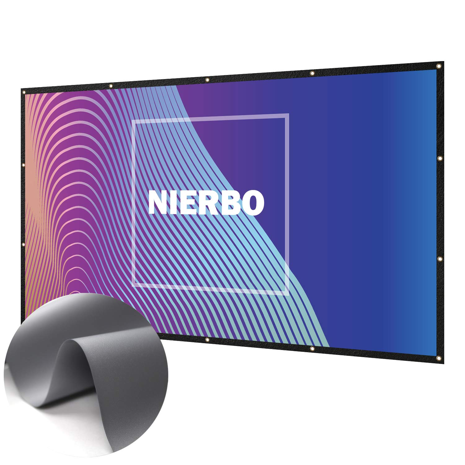 100 inch Portable Soft film 3D projection silver screen 16:9 with black borders & slot holes NIERBO UK-Silver Screen 100