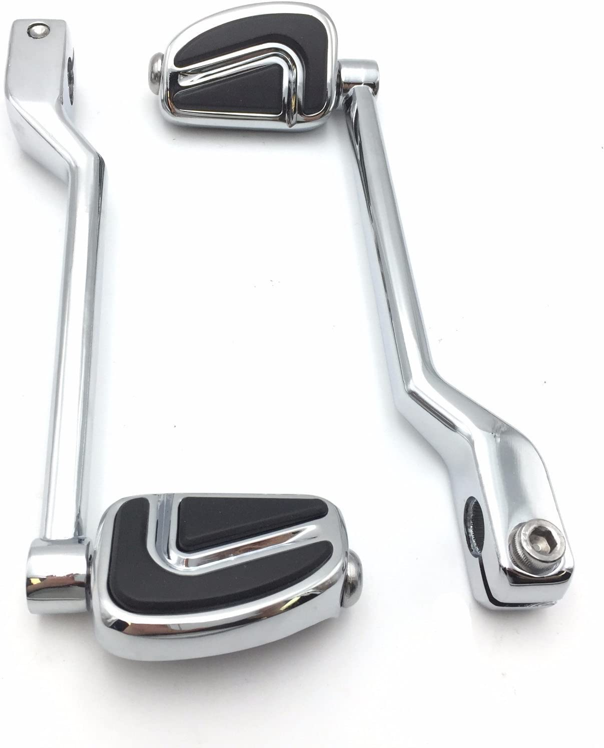 SMT-Chromed 2 PCs Billet Style Heel Toe Shift Lever Gear Shift Foot Lever with Airflow Shifter Pegs Compatible With Harley Davidson FL Softail Touring Trike FLST FLT FLHT B01EXLZOOI
