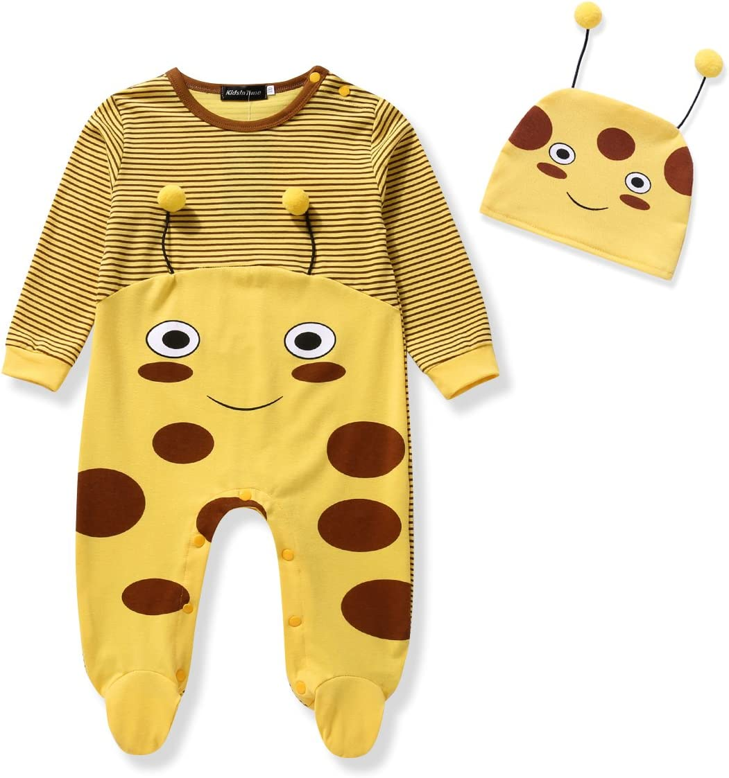 90 , Bee 12-18m Baby Bodysuit Footie Jumpsuit /& Cap 2 Pieces Organic Outfit Set Bee