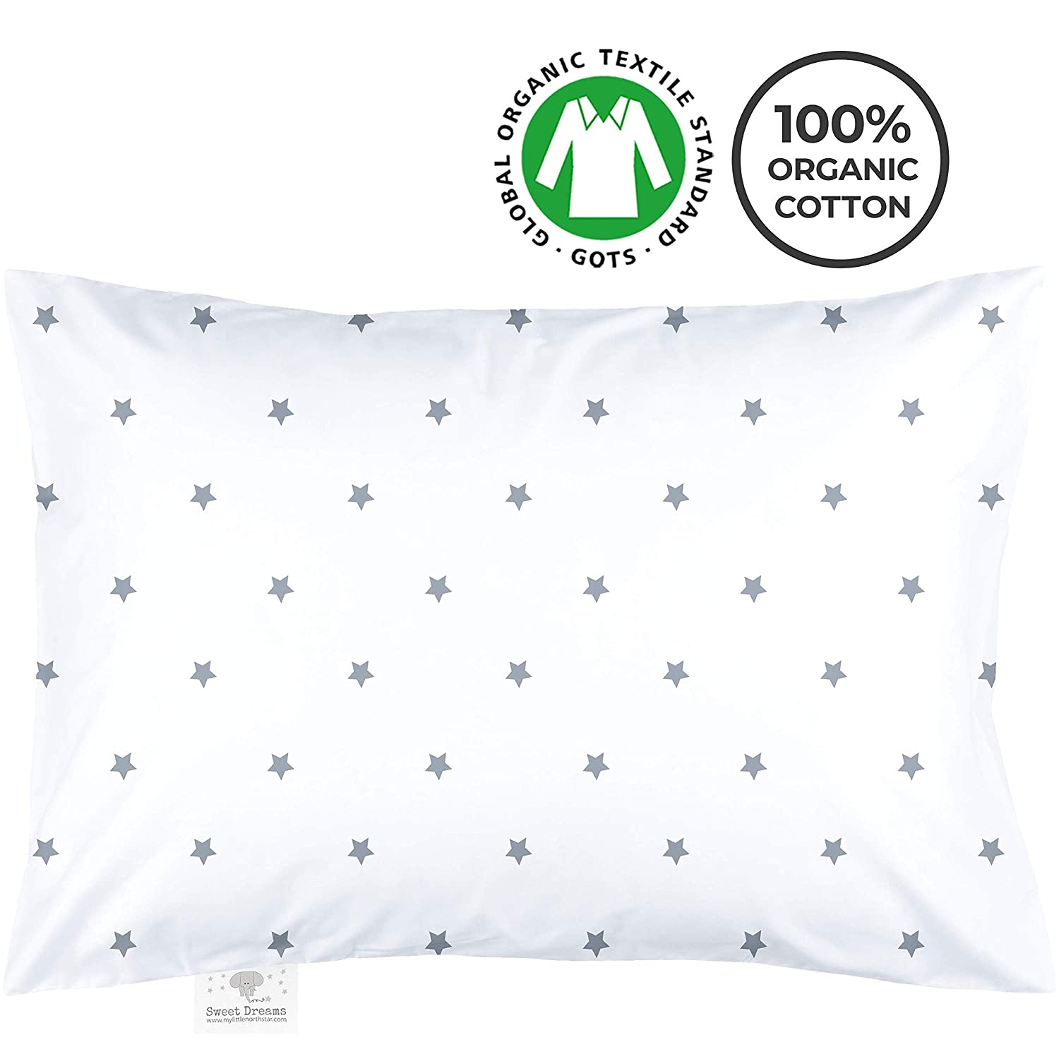 My Little North Star Toddler Pillowcase - 100% Organic Cotton - Hypoallergenic Super Soft Safe and Comfortable - No Harsh Chemicals on Your Toddler's Skin - White and Grey Stars