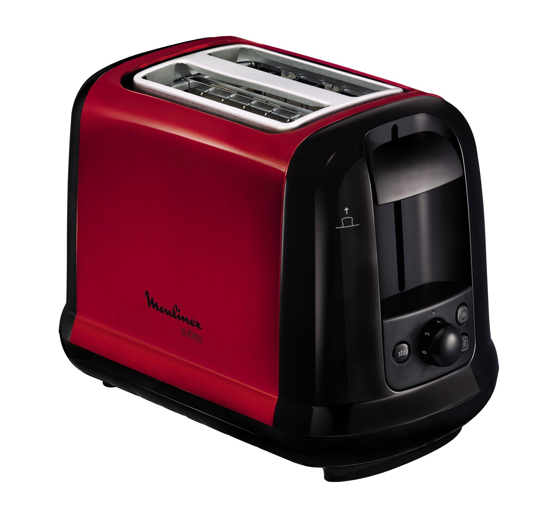 Moulinex LT260D11 Grille-Pain Toaster Subito 2 Fentes Décongélation Réchauffage Thermostat Réglable Rouge Inox 850W product image