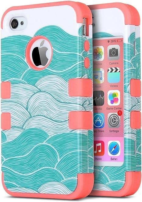 ULAK Coque iPhone 4S, iPhone 4 Coque Housse de Protection - Matériaux Hybrides en TPU Souple et PC Dur pour Apple iPhone 4S/4(Rose)