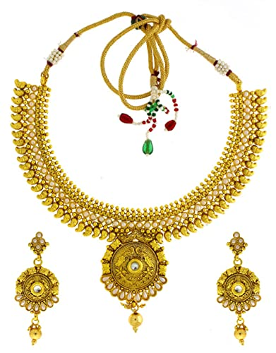 06e301af5 Buy Anuradha Art Golden Colour Very Classy Designer Traditional  Maharashtrian Necklace Set For Women Online at Low Prices in India