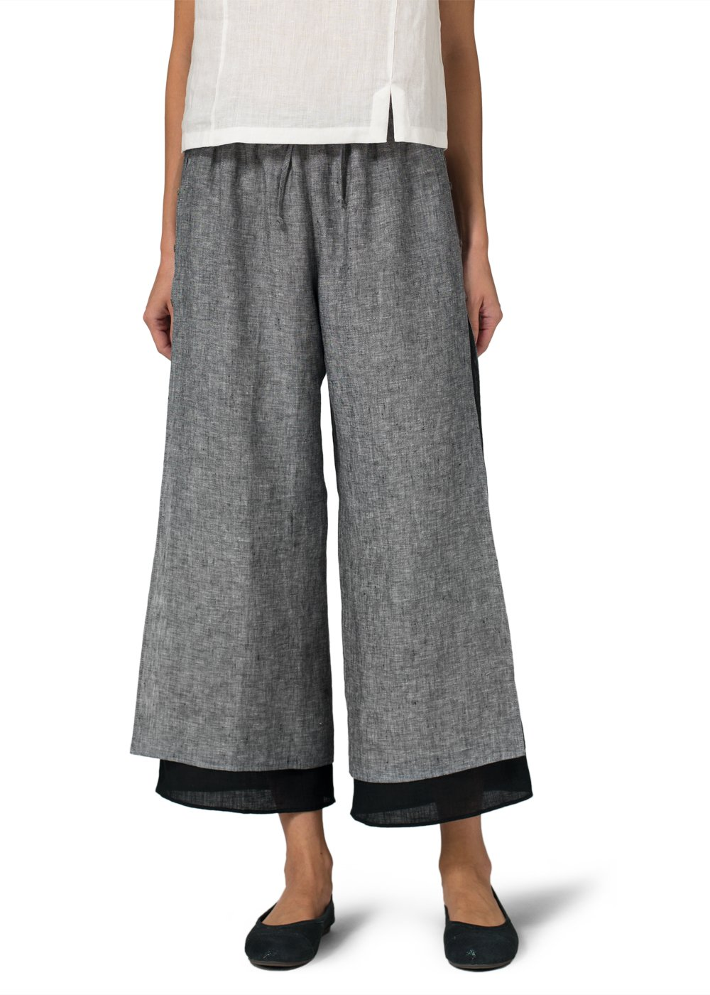 Vivid Linen Double-Layer Cropped Pants With Sea Shell Button-3X-Two Tone Black/Black by Vivid Linen