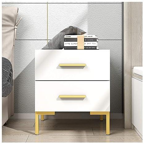 Amazon.com: Mesita con 2 cajones, mesita de noche, mueble de ...