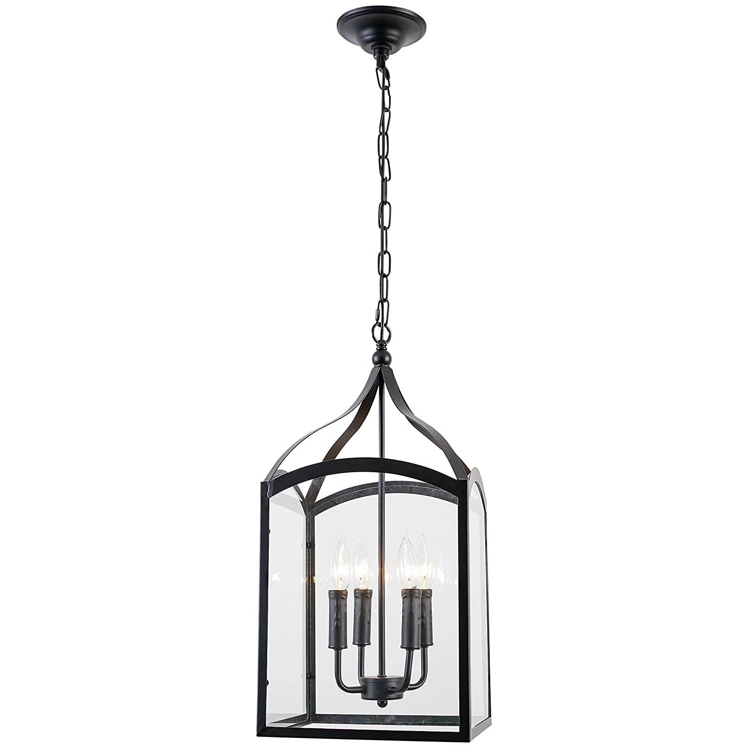 Light society 4 light victoria foyer pendant lamp matte black shade with clear glass panels vintage modern industrial lighting fixture ls c112