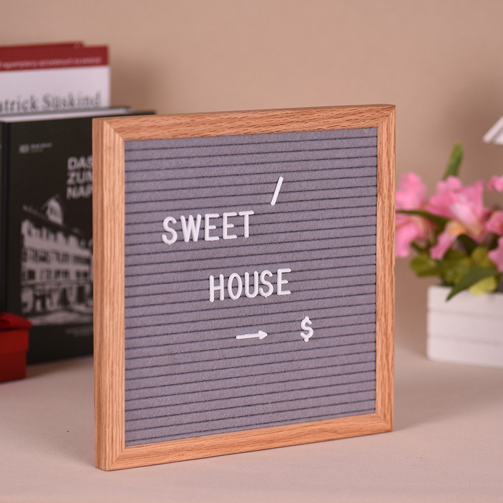 Aibecy 10'' 10'' Felt Letter Board Sign Message Home Office Decor Board Oak Frame with 290 Changeable White Letters Symbols Numbers Characters Bag Wall Mount Hook
