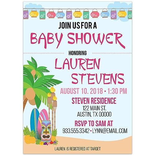 Amazon hawaiian luau tropical island pink text baby shower hawaiian luau tropical island pink text baby shower party invitations filmwisefo