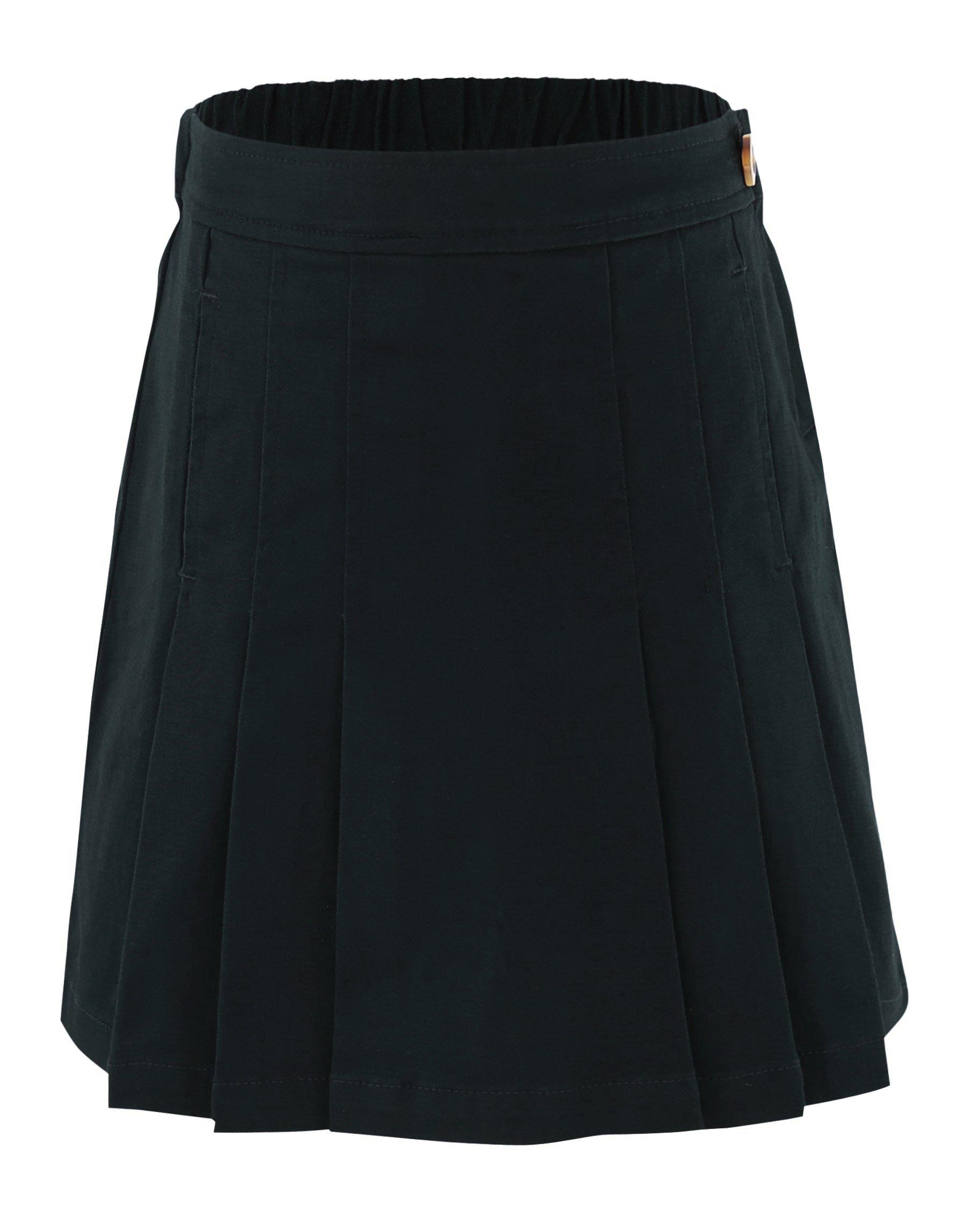 Bienzoe Girl's Cotton Stretchy School Uniforms Pleated Skirt Black Size 6X