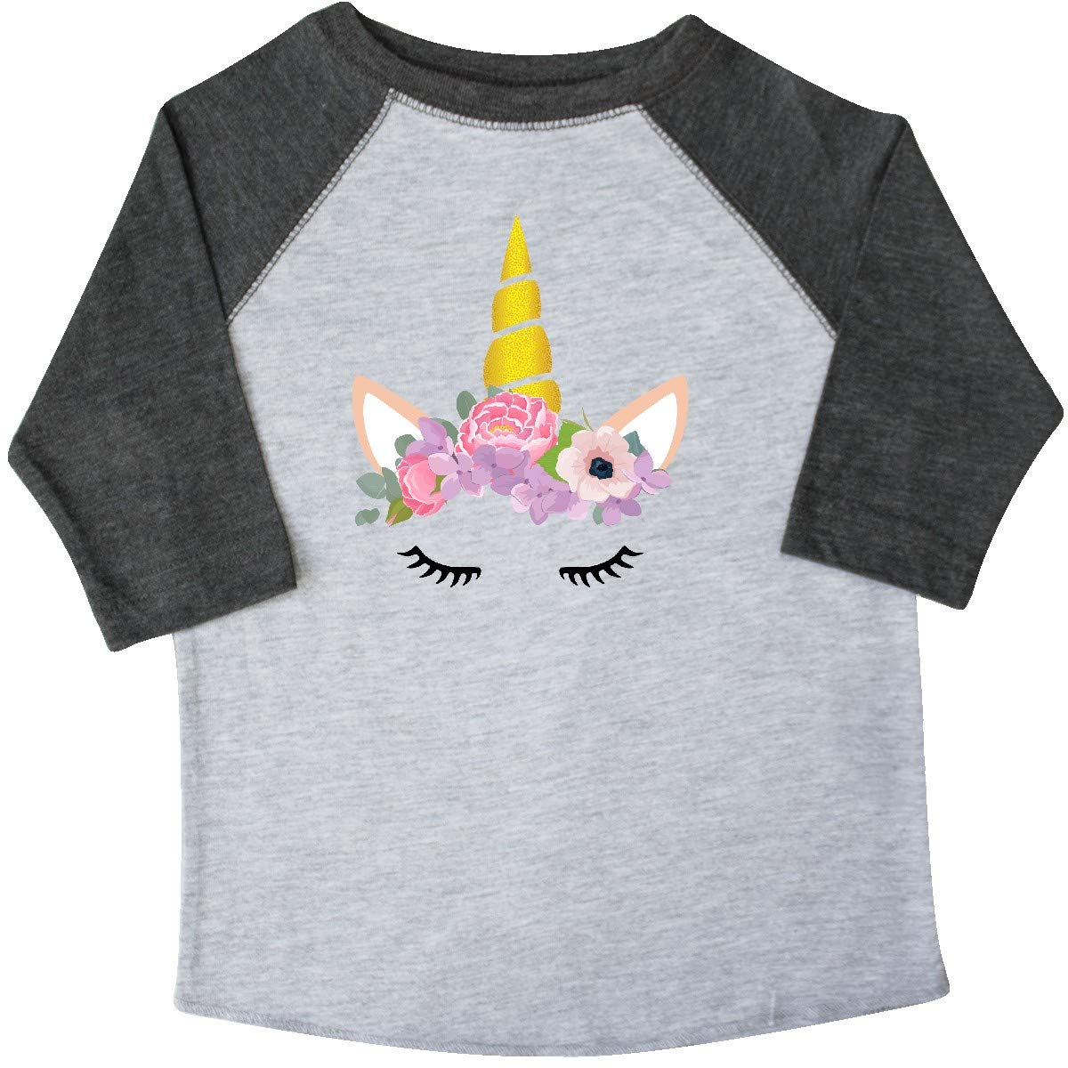 Pink Purple Toddler T-Shirt inktastic Unicorn Head Unicorn Face Flowers