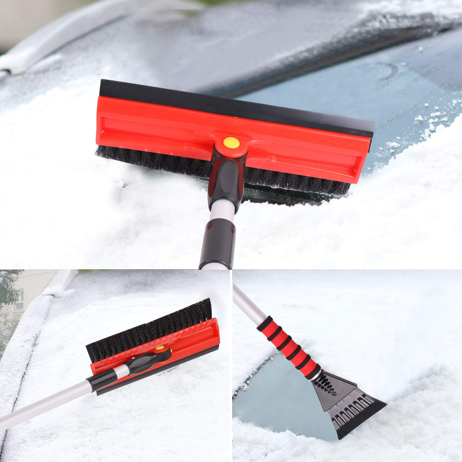 Drivaid 48 Snow Brush for Car Ice Scraper with Soft Foam Grip 3 in 1 Snow Broom 90/°Whirl Brush Head Extendable T-Shape Snow Brush for Auto Truck SUV