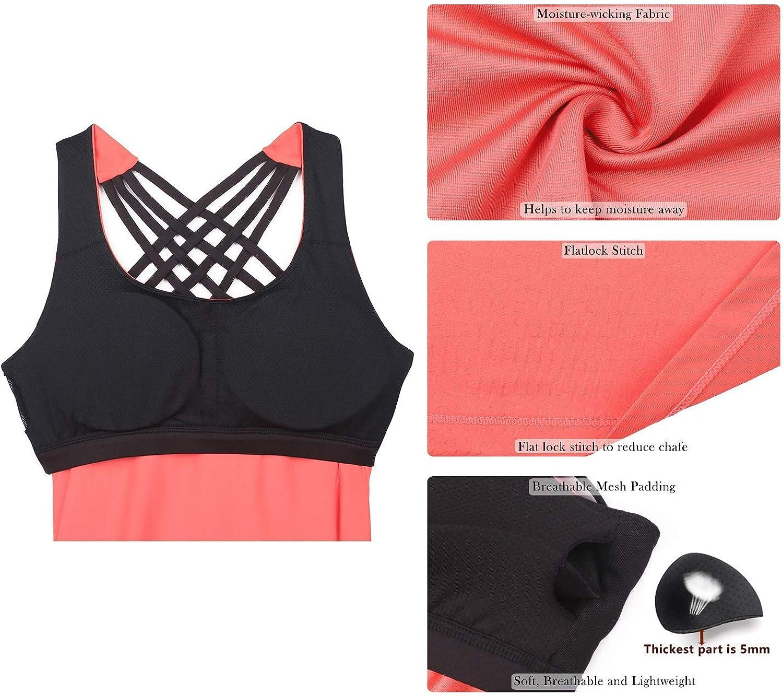 2 in 1 Yoga Gym Shirt Fitness Training Tanktop icyzone Damen Sport Tops mit Integriertem BH