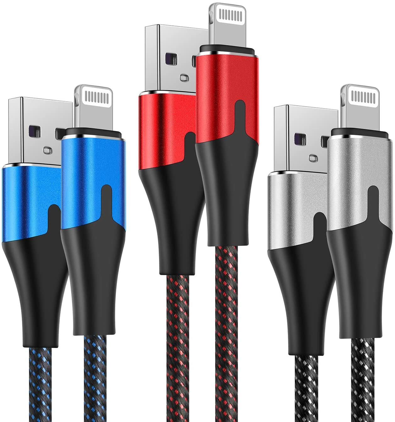 10 Foot Lightning Cable [MFi Certified] AJY Extra Long iPhone Charger 3Pack 10FT Nylon Braided Charging Cord for iPhone 11/11Pro/11Max/ X/XS/XR/XS Max/8/7/6/5S/SE/iPad Mini Air Silver Red Blue