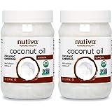 Nutiva Organic Cold-Pressed Virgin Coconut Oil, 15 Fluid Ounce (2 Pack)   USDA Organic, Non-GMO, Fair Trade   Vegan, Keto, Pa