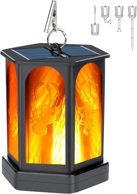Idealife Luces de linterna solar Llama danzante Luces solares impermeables Linterna colgante al aire libre Luz parpadeante Antorcha Luz Luces de paisaje para jard/ín Patio Patio Terraza Patio Camino