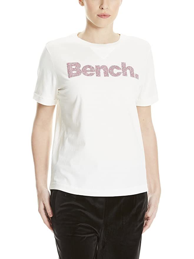 Bench Core Logo T-Shirt August, Camiseta para Mujer, Blanco (Snow White Wh11210), Small