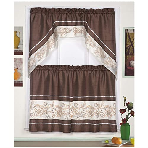 3pc Beige Coffee With Embroidered Gold Floral Kitchen Cafe: Swag Tier Curtains: Amazon.com