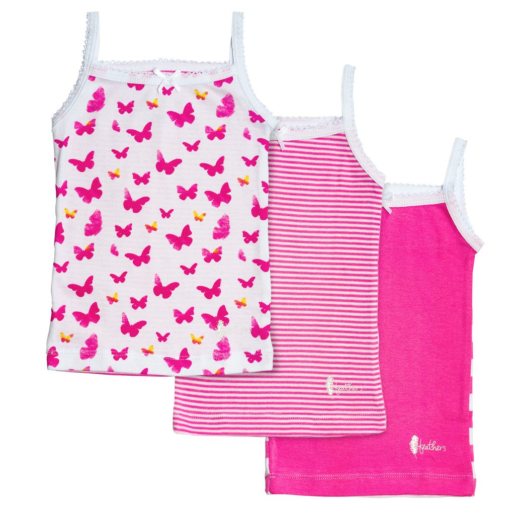 Feathers Girls Pink Butterfly Print Tagless Cami Super Soft Undershirts (3/Pack)