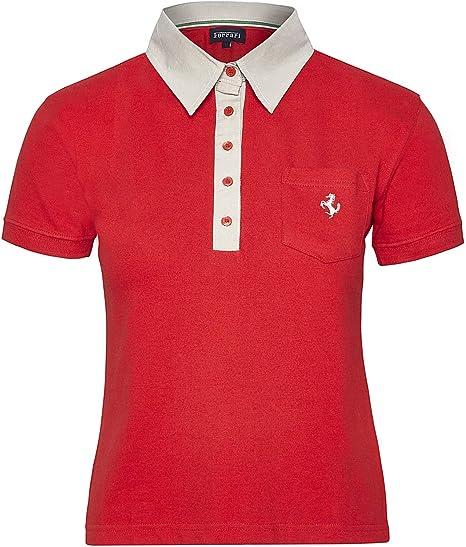 Polo Ferrari para mujer de algodón, mujer, rojo, Small: Amazon.es ...