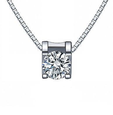 WHCREAT Damen Einfache Kristall Anhänger Halskette, 925 Sterling Silber  Kette Elegante 5A Zirkonia Schmuck, 45cm Kette  Amazon.de  Schmuck cb1abed376