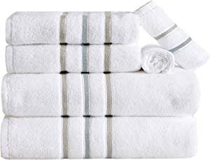 6-Piece Towel Set. Lightweight 100% Cotton Quick Dry Bathroom Towels. Woven Striped Detail Absorbent Towels. Set Includes 2 Bath, 2 Hand, and 2 Wash. Hallie Collection. (6 Piece, Cappucino/Grey)