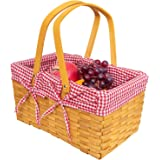 Gonioa Woven Picnic Basket with Double Folding Handles, Country Picnic Basket with Red/White Gingham Liner, Storage of Bath T