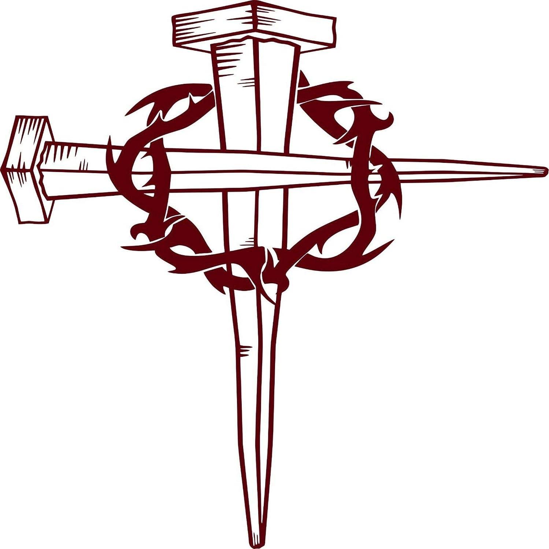 Jesus Christ Cross Crown Of Thorns Bible GOD Car Truck Window Vinyl Decal Sticker