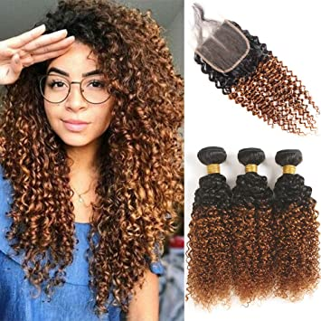 Two Tone Ombre Blonde Color Curly Human Hair Closure With Bundles Real Brazilian Kinky Curly Hair