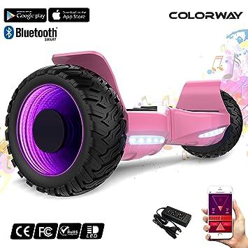 COLORWAY Hover Scooter Board SUV de 8,5 Pulgadas, Todo Terreno 700 W, Función App, Bluetooth y LED, Equilibrio Automático de Patinete Eléctrico para ...