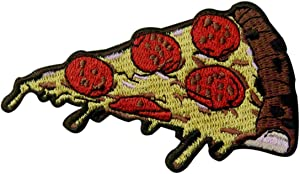 Pepperoni Pizza Slice Italian Fast Food Retro Embroidered Applique Iron On Sew On Patch