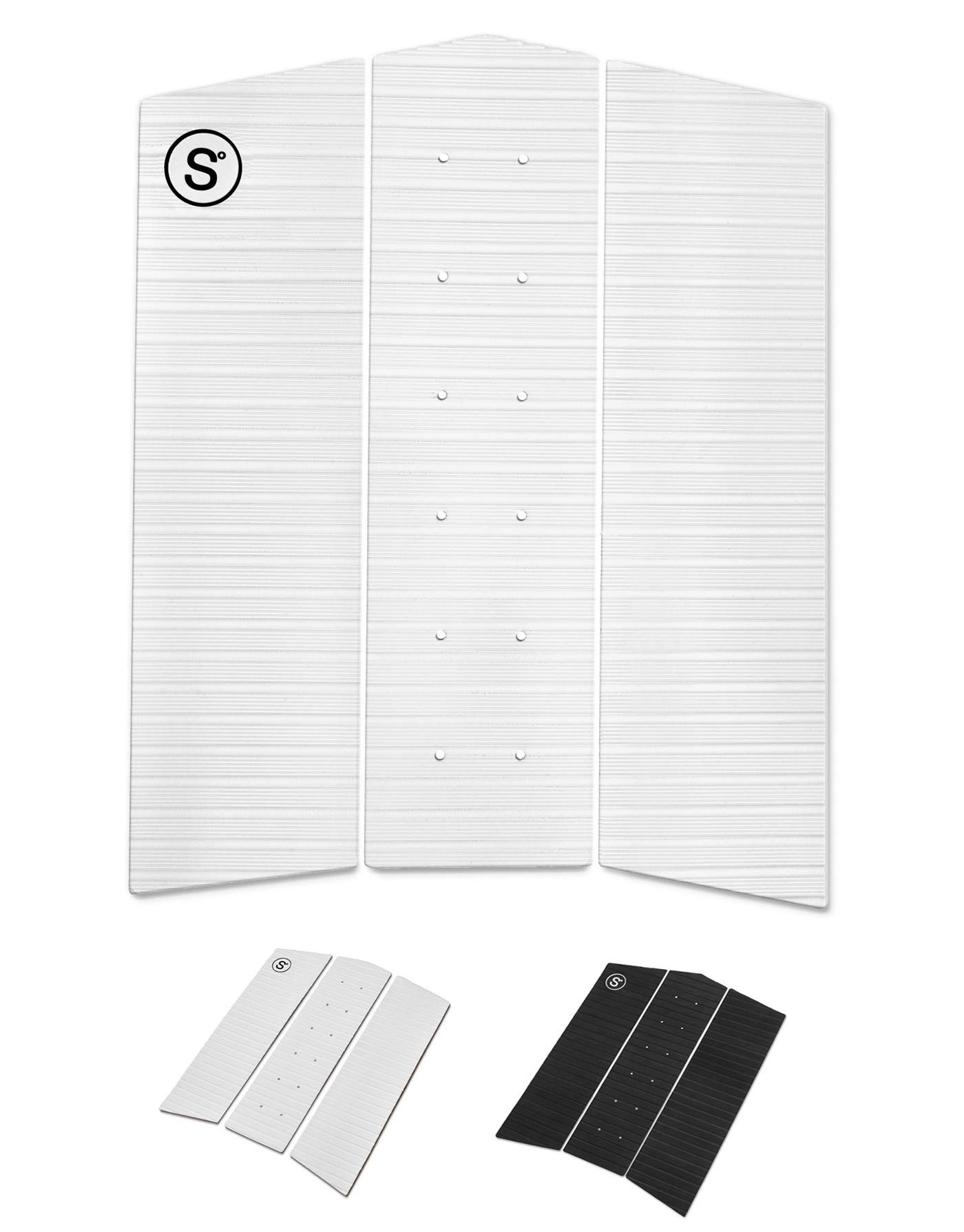 SYMPL Surfboard Front Traction Pad • 3 Pieces • Maximum Grip, 3M Adhesive for Surfboard, Skimboard, Longboard [ Choose Color ] (White) by SYMPL
