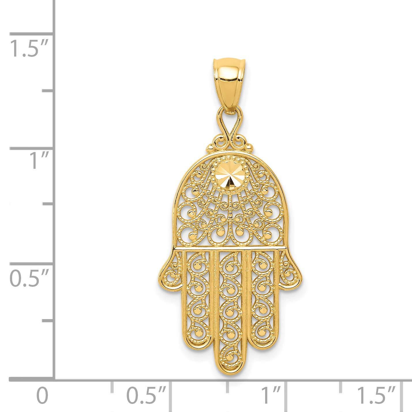 14k Yellow Gold Filigree Chamseh Pendant 36x16mm