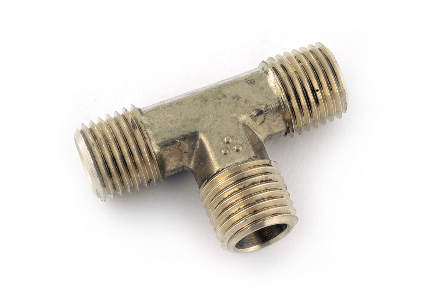"""Anderson Metals 06232 Brass Pipe Fitting, Forged Tee, 3/8"""" NPT Male x 3/8"""" NPT Male x 3/8"""" NPT Male Pipe"""