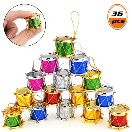 Christmas Drum Decor.Beautymood 36pcs Colorful Glitter Mini Drum Christmas Tree Ornaments Christmas Mini Drums Xmas Tree Hanging Decoration Pendant Christmas Holiday