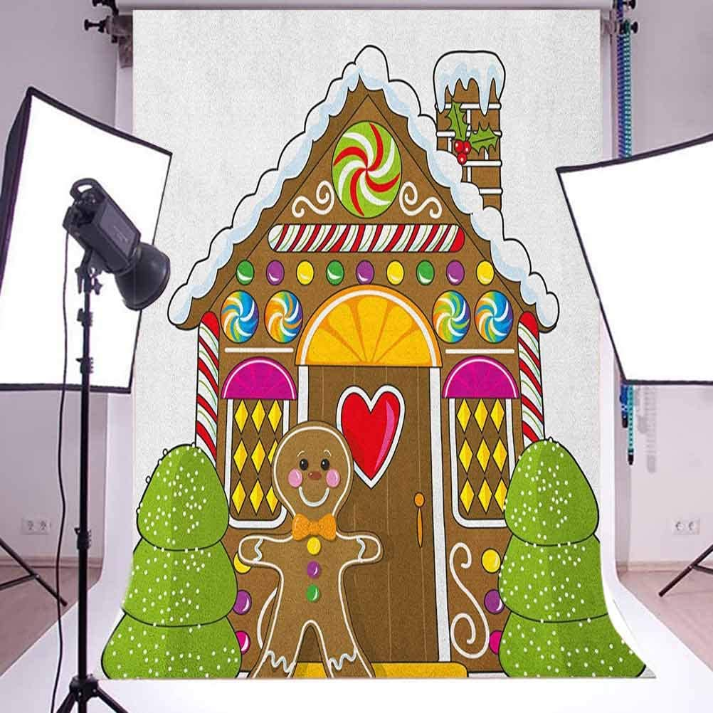 9x16 FT Gingerbread Man Vinyl Photography Backdrop,Cute Gingerbread House with Colorful Candies Cookie Man Graphic Figure Background for Baby Birthday Party Wedding Studio Props Photography