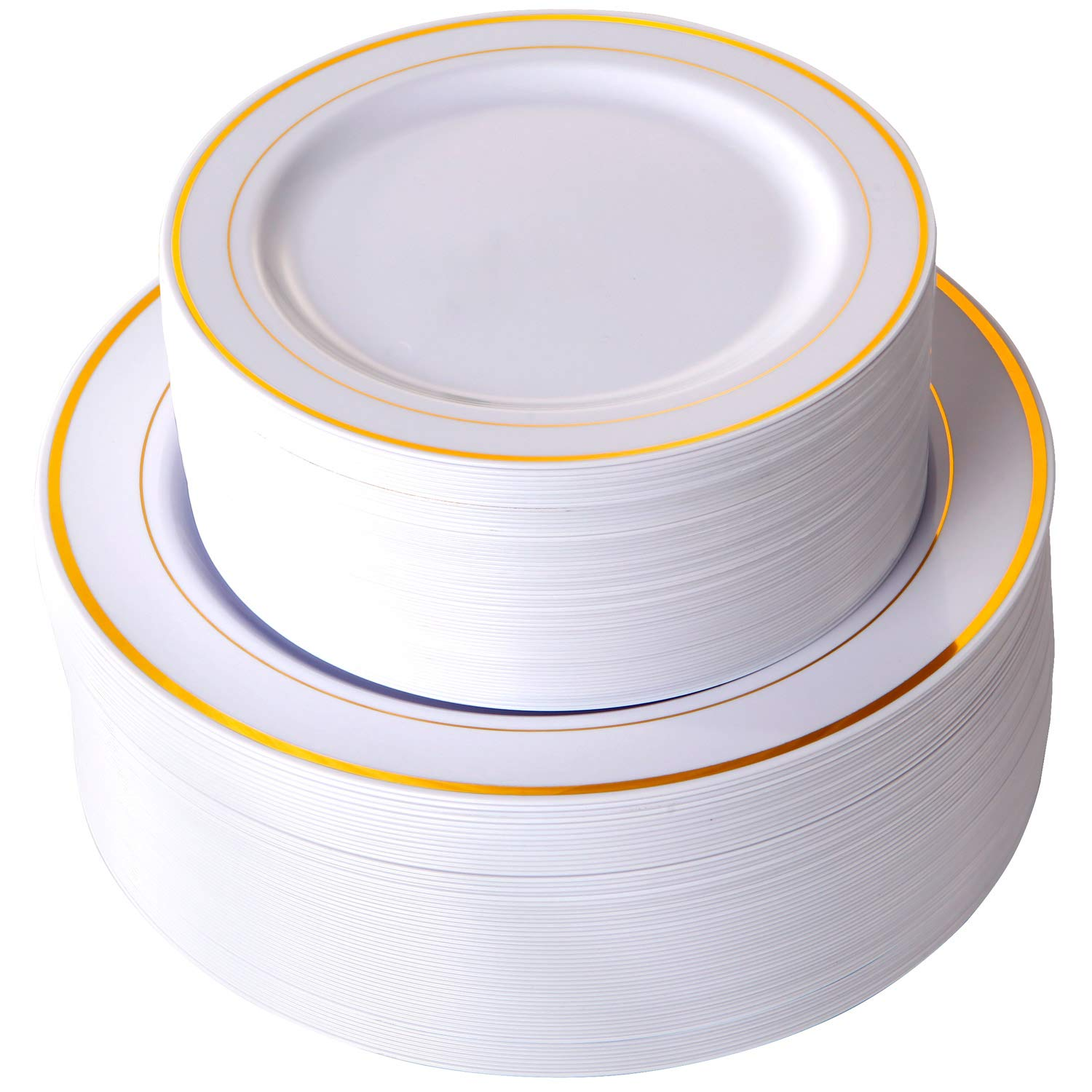 102 Pieces Gold Plastic Plates, White Party Plates, Premium Heavyweight Disposable Wedding Plates Includes: 51 Dinner Plates 10.25 Inch and 51 Salad/Dessert Plates 7.5 Inch by I00000